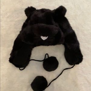 NWT Black Faux Fur Kitty Hat with balls.